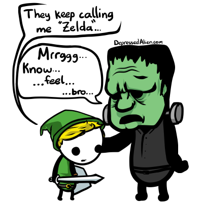 Zelda and Frankenstein commiserate.